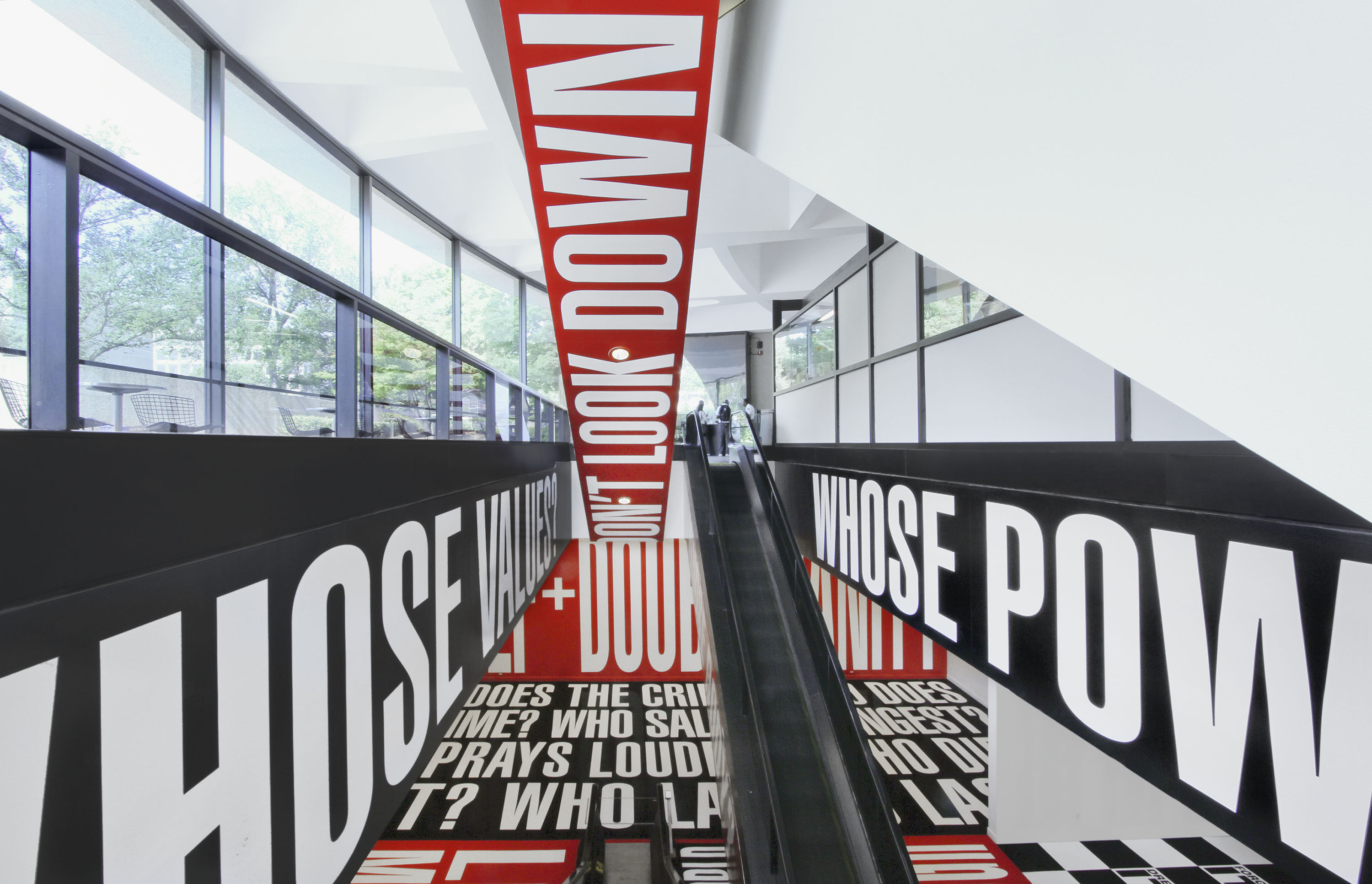 Barbara Kruger: Belief+Doubt Install Escalator from lobby