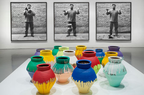 Ai Weiwei,' Dropping a Han Dynasty Urn,' 1995/2009; 'Colored Vases,' 2007-2010