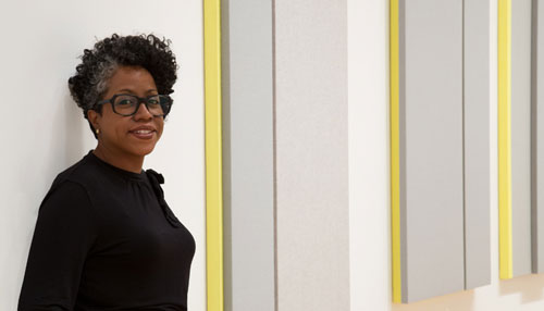 "The artist in the installation of ""Directions: Jennie C. Jones: Higher Resonance.""  Photo: Cathy Carver"