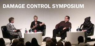 Damage Control Symposium: Destruction in Art. From left to right: Dario Gamboni, Monica Bonvicini, Raphael Montañez Ortiz, and Yoko Ono