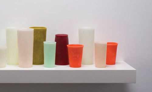 detail of George Stoll, Untitled (15 tumblers on a 36 inch shelf #3), 2012