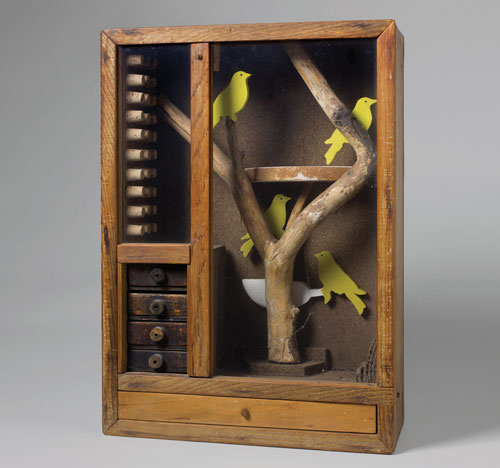 Joseph Cornell, Untitled (Aviary with Yellow Birds), c. 1948. © The Joseph and Robert Cornell Memorial Foundation/Licensed by VAGA, New York