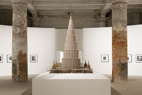 2013 Venice Biennale, Arsenale—Room 1 Installation view of Marino Auriti's Encyclopedic Palace [Palazzo Enciclopedico], c. 1950s. American Folk Art Museum, New York. Gift of Colette Auriti Firmani in memory of Marino Auriti. Photo: R. Marossi