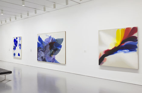 Installation view of Gravity's Edge at the Hirshhorn Museum and Sculpture Garden, Smithsonian Institution, Washington DC, 2014. Left to right: works by Sam Francis, Paul Jenkins, and Paul Jenkins. Photo: Cathy Carver