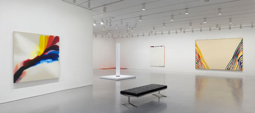 Installation view of Gravity's Edge at the Hirshhorn Museum and Sculpture Garden, Smithsonian Institution, Washington DC, 2014. Left to right: works by Paul Jenkins, Lynda Benglis, Anne Truitt, Sam Francis, and Morris Louis. Photo: Cathy Carver