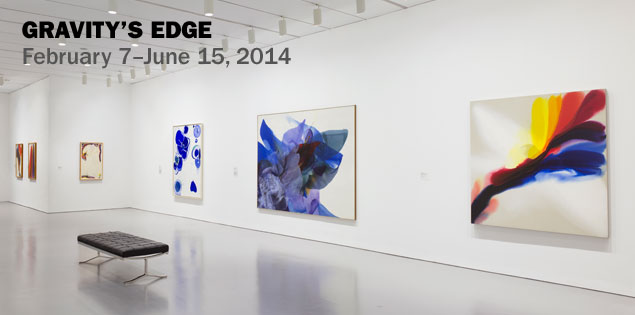 Installation view of Gravity's Edge at the Hirshhorn Museum and Sculpture Garden, Smithsonian Institution, Washington DC, 2014. Left to right: works by Paul Jenkins, Paul Jenkins, Sam Francis, Sam Francis, Paul Jenkins, and Paul Jenkins. Photo: Cathy Carver