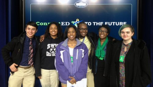 Smithsonian's ARTLAB+ Teens Invited to White House Superintendent Summit. From left to right: Dzhoy Zuckerman, Jamilah Stith, Diamond Towler, Carlos Campbell, Amadi Umi, and Virginia Walker.