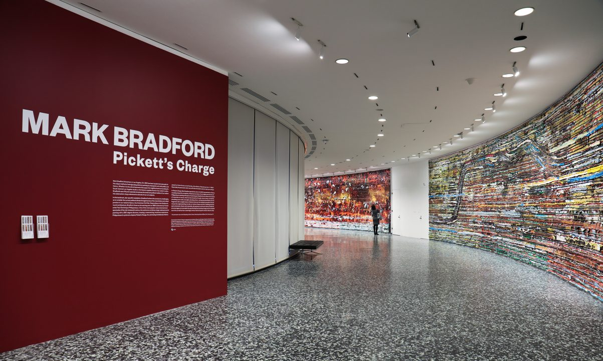 Installation view of Mark Bradford: Pickett's Charge at the Hirshhorn Museum and Sculpture Garden, 2017. Courtesy of the artist and Hauser & Wirth. Photo: Cathy Carver.
