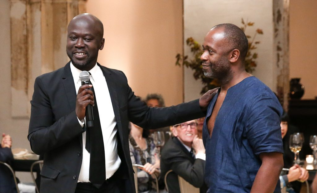 David Adjaye and Theaster Gates at Rebuild Foundation's BUILD / REBUILD benefit at the newly restored Stony Island Arts Bank. Photo by Kelly Taub/BFA.com, Courtesy of Rebuild Foundation