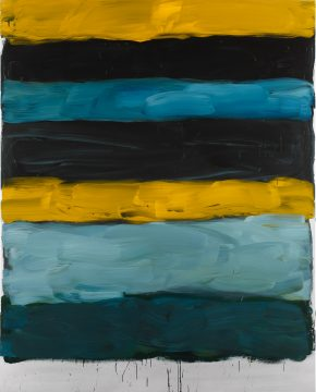 Sean Scully, Landline Yellow Line, 2015. Oil on aluminum. 98 ½ × 78 ¾ in. × (249.9 × 199.9 cm). Private collection. © Sean Scully, Photographed by Robert Bean