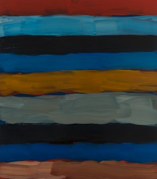 Sean Scully, Landline Far Yellow, 2017. Oil on aluminum. 85 × 75 in. (215.9 × 190.5 cm). Private collection. © Sean Scully, Photographed by Robert Bean