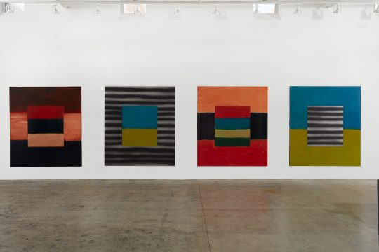 Sean Scully, Human Too, 2017. Oil on aluminum. Four panels, each 85 × 75 in. (215.9 × 190.5 cm). Private collection. © Sean Scully, Photographed by Robert Bean