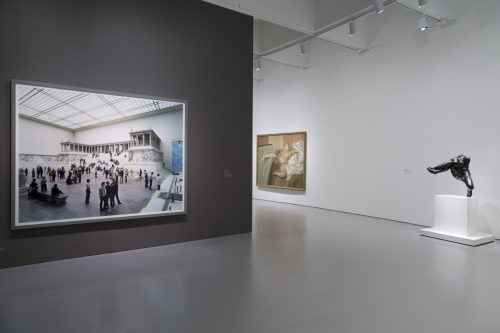 Installation view of Masterworks from the Hirshhorn Collection at the Hirshhorn Museum and Sculpture Garden, 2016. Left to right: Thomas Struth, Pergamon Museum I, Berlin, 2001; Lucian Freud, Nude with Leg Up (Leigh Bowery), 1992; Auguste Rodin, Alexis Rudier, Iris, Messenger of the Gods, 1890-1891/cast 1890s. Photo: Cathy Carver
