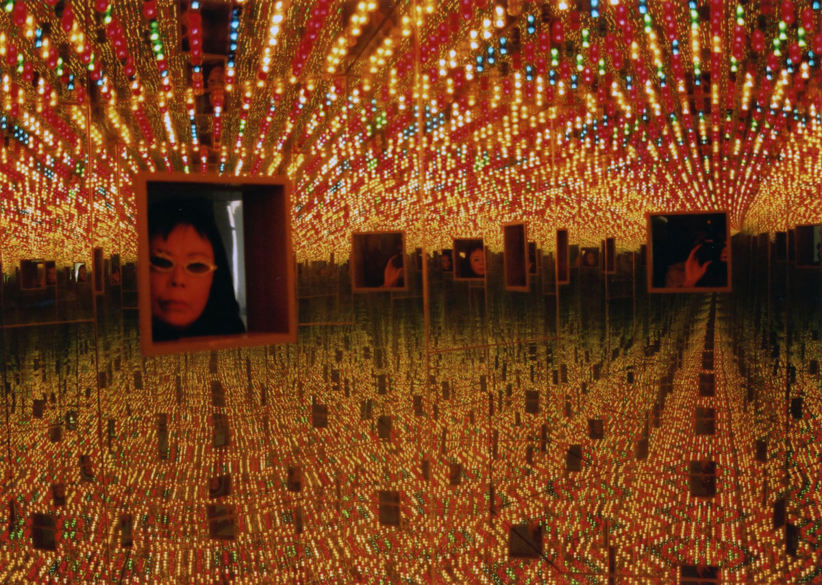 Yayoi Kusama Installation view of Infinity Mirrored Room—Love Forever, 1994, in My Solitary Way to Death, Fuji Television Gallery, 1994. Wood, mirrors, metal, and lightbulbs. Collection of Ota Fine Arts © Yayoi Kusama