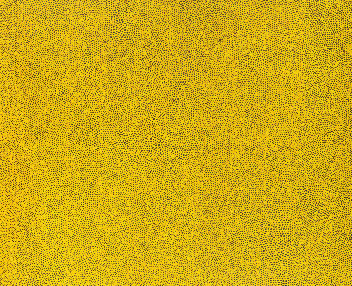 Yayoi Kusama Infinity Nets Yellow, 1960 Oil paint on canvas 94 1/2 x 116 in. (240 x 294.6 cm) National Gallery of Art, Washington. Gift of the Collectors Committee (2002.37.1). © Yayoi Kusama
