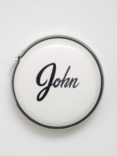 John Dogg, John, Not Johnny, 1987. Painted stainless steel cover; 29 x 29 in (73.66 x 73.66 cm). Collection of Adam Lindemann. Courtesy Venus over Manhattan