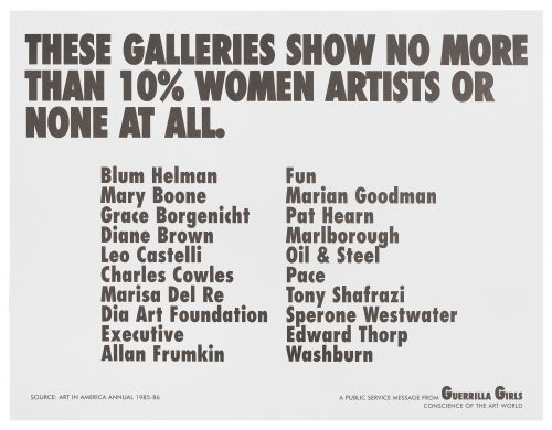 Guerrilla Girls, These Galleries show no more than 10% women artists or none at all., 1984-85. Offset lithograph; each 11 x 17 in (27.94 x 43.18 cm). Hirshhorn Museum and Sculpture Garden, Washington DC, Smithsonian Institution. Photo by Cathy Carver