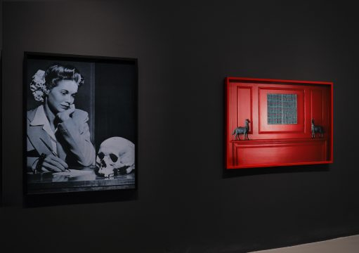 Installation view of Brand New: Art and Commodity in the 1980s at the Hirshhorn Museum and Sculpture Garden, 2018. Left to right: Annette Lemieux, Courting Death, 1985; Louise Lawlor, Who Are You Close To? (Red), 1984/1990. Photo: Cathy Carver.
