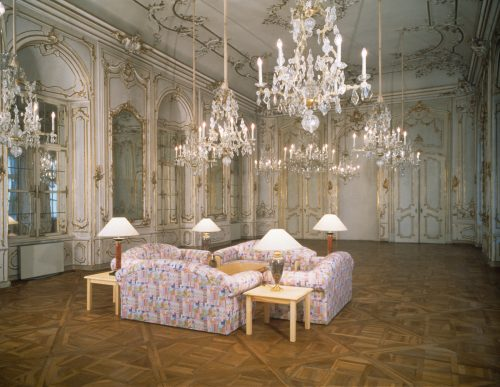 Ken Lum. Untitled Sculpture, 1982. Couches, side tables, table lamps. Installation view Artists' space. Photo by Neue Galerie Graz, Graz, Austria