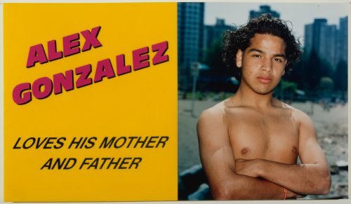 Ken Lum, Alex Gonzalez Loves his Mother and Father, 1989. Chromogenic print on sintra, mounted on acrylic sheet with screen printed ink text; 46 x 80 x 2 1/6 in (116.5 x 203.3 x 5.5 cm). Courtesy the artist. Photo by Witte de with Center for Contemporary Art, Rotterdam