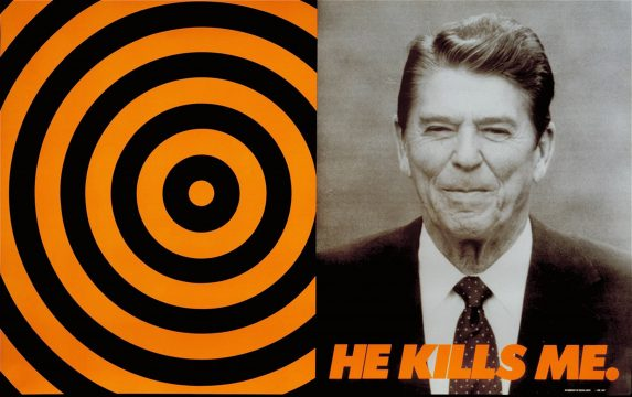 Donald Moffett, He Kills Me, 1987. Offset lithograph; 23.5 x 37.5 in (59.7 x 69.9 cm. International Center of Photography,Purchase, with funds provided by the ICP Acquisitions Committee, 2000. Courtesy of the artist and Marianne Boesky Gallery, New York and Aspen. © Donald Moffett