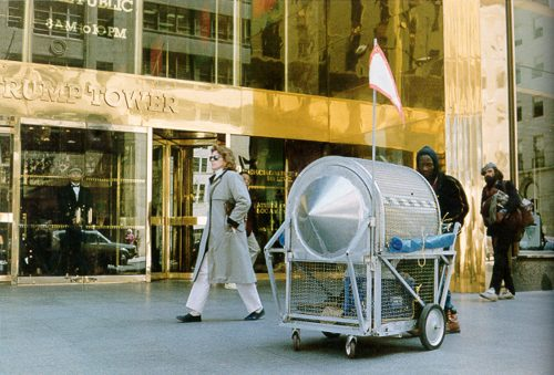 Krzysztof Wodiczko, Homeless Vehicle in New York City, 1988-89. Color photographs; set of 6; each 11 x 17 in (27.94 x 43.18 cm). Hirshhorn Museum and Sculpture Garden, Washington DC, Smithsonian Institution. © Krzysztof Wodiczko. Courtesy Galerie Lelong & Co., New York