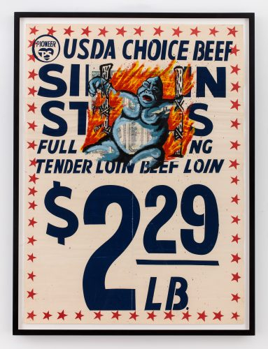 David Wojnarowicz, USDA Choice Beef, 1985. Acrylic on found supermarket poster; 42 x 31 1/2 in (106.68 x 80.01 cm). Courtesy the Estate of David Wojnarowicz and P•P•O•W, New York. ©The Estate of David Wojnarowicz