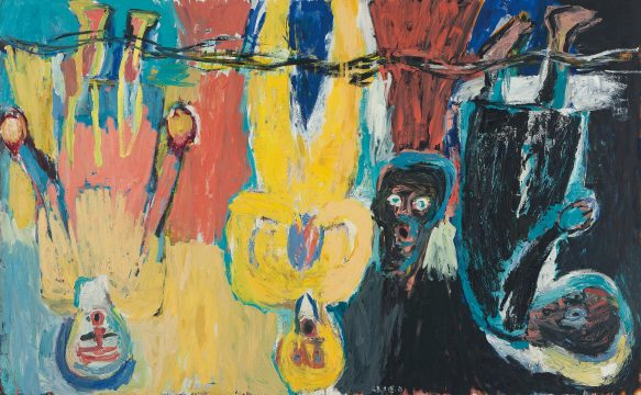 Georg Baselitz, The Brücke Chorus (Der Brückechor), 1983. Oil on canvas, 280 x 450 cm. © Georg Baselitz 2018. Private collection. ©2014 Christie's Images Limited