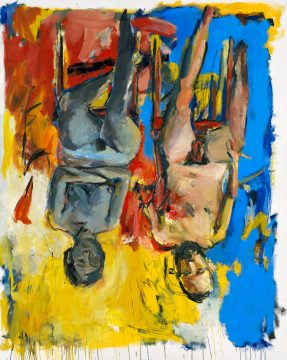 Georg Baselitz, Schlafzimmer (Bedroom), 1975. Oil and charcoal on canvas, 250 x 200 cm. Privately owned. © Georg Baselitz 2018. Photo: Jochen Littkemann