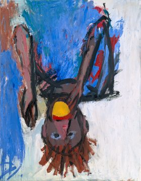 Georg Baselitz, Orangenesser (IX) (Orange Eater (IX)), 1981. Oil and tempera on canvas, 146 x 114 cm. © Georg Baselitz 2018. Skarstedt, New York. Photo: Friedrich Rosenstiel, Cologne