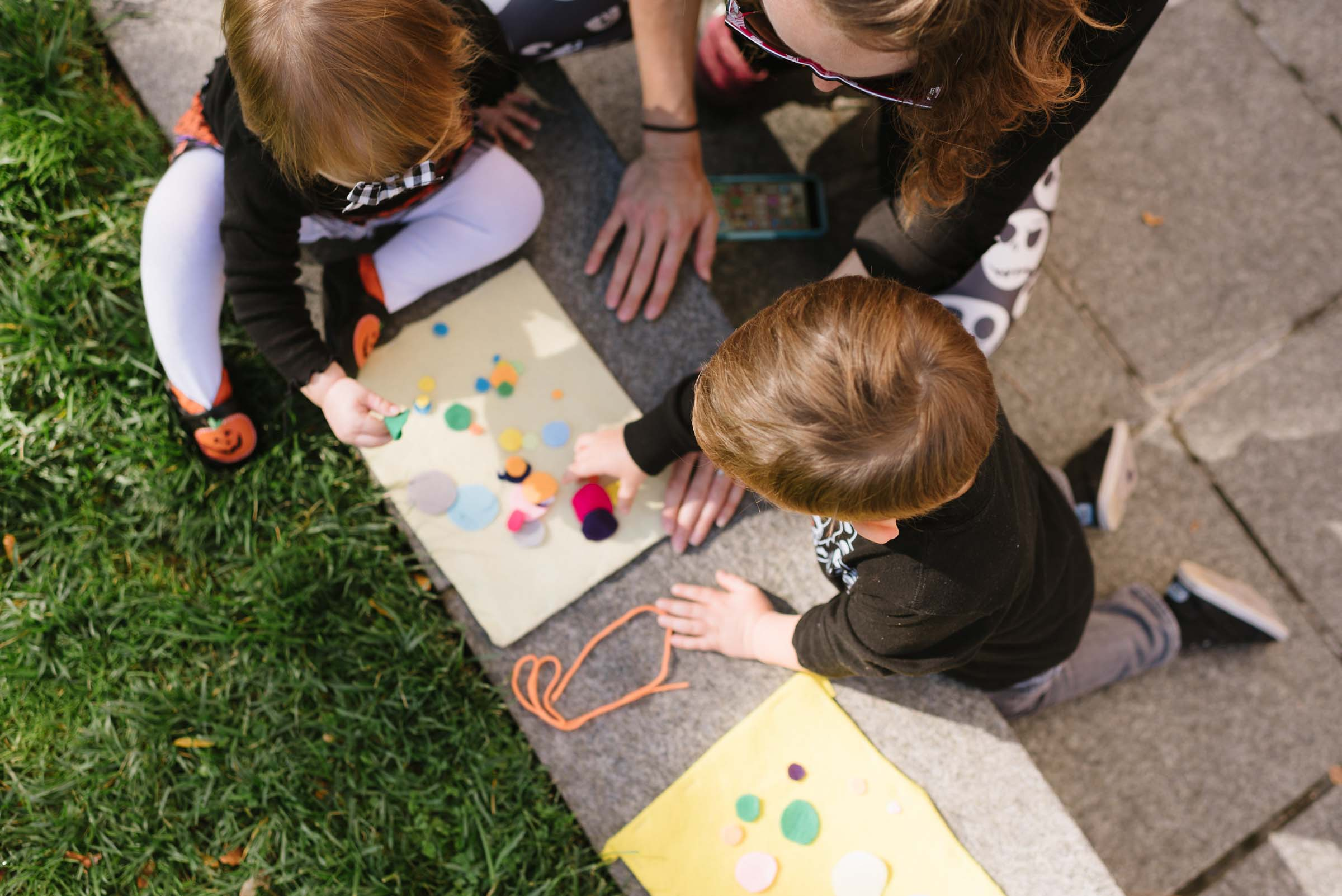 Children participating in hands on activities on the plaza