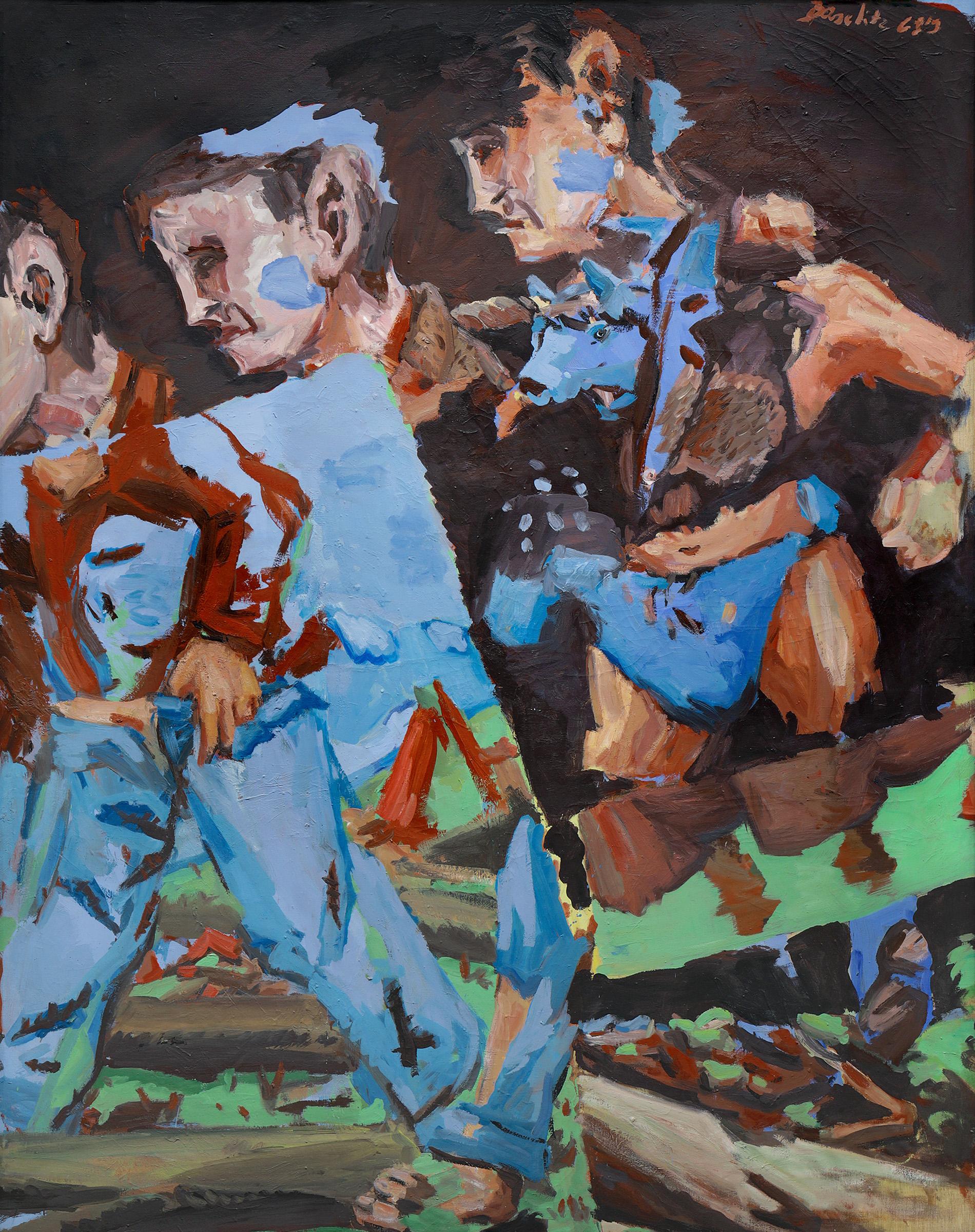 Georg Baselitz, Meissen Woodsmen, 1969. Oil on linen; 250 x 200 cm. Hirshhorn Museum and Sculpture Garden, Smithsonian Institution, Washington DC, Holenia Purchase Fund, in memory of Joseph H. Hirshhorn, 1994. Photo: Friedrich Rosenstiel