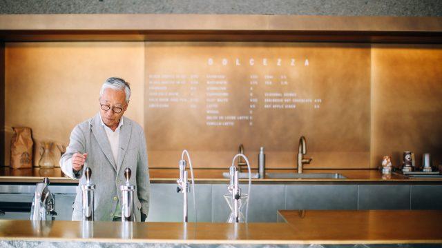 Hiroshi Sugimoto with Dolcezza Coffee and Gelato at Hirshhorn in the lobby of the Hirshhorn Museum and Sculpture Garden. Artist: Hiroshi Sugimoto; Architect: NMRL/Tomoyuki Sakakida. Photo: Farrah Skeiky.