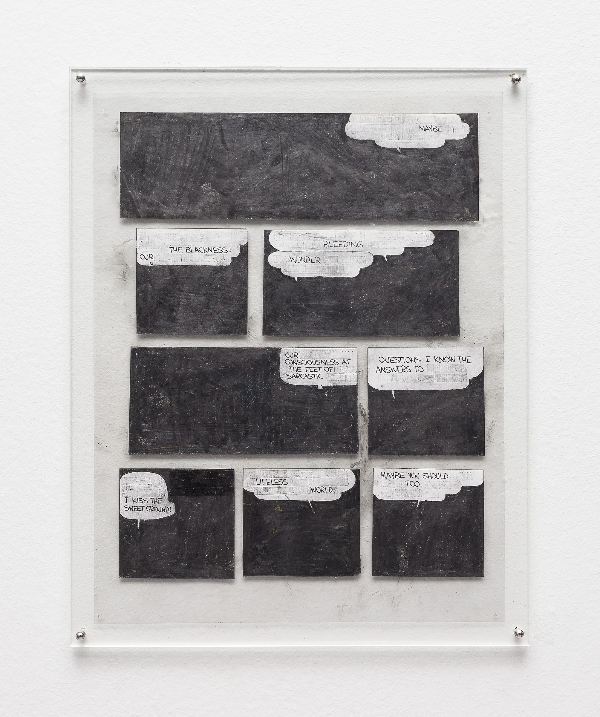 Tony Lewis, Maybe, 2016. Pencil, graphite powder, and correction fluid on paper and transparency. Courtesy of the Artist.