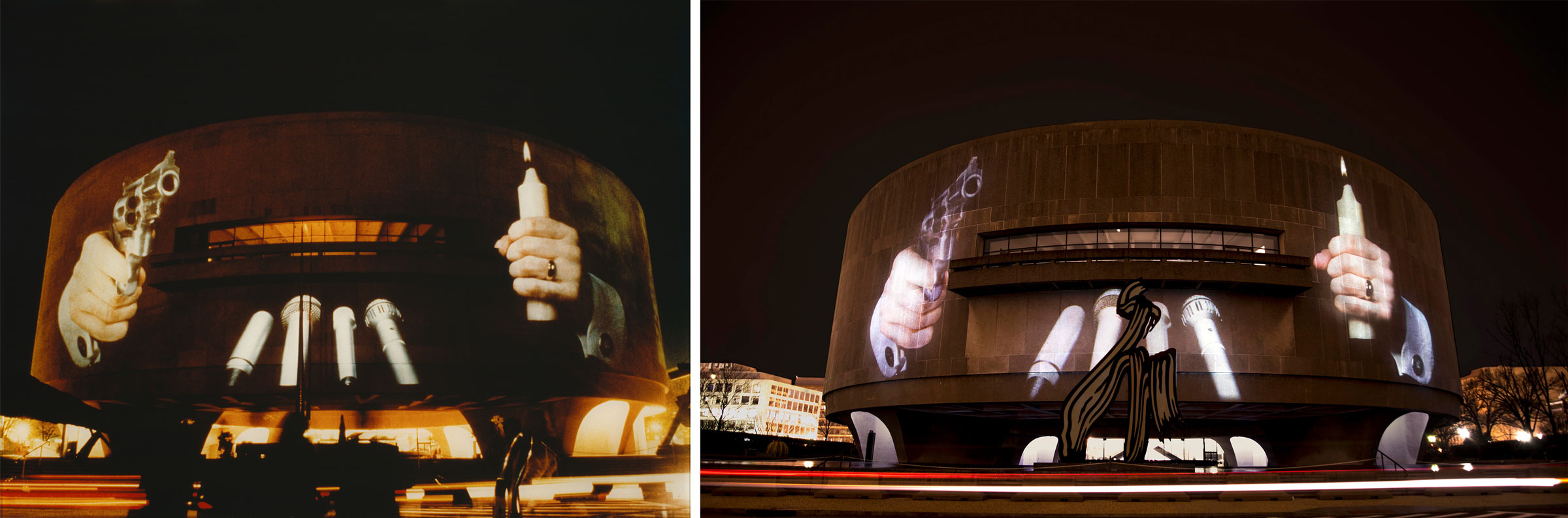 (left) Krzysztof Wodiczko, Hirshhorn Museum, Washington, DC, 1988. Public projection at the Hirshhorn Museum, Washington, DC, October 25-27, 1988. Courtesy the artist and Galerie Lelong, New York. (right) Krzysztof Wodiczko, Hirshhorn Museum, Washington, DC, 1988. Public projection at the Hirshhorn Museum, Washington, DC, February 13, 2018. Courtesy the artist and Galerie Lelong, New York. Photo: Joshua Jest
