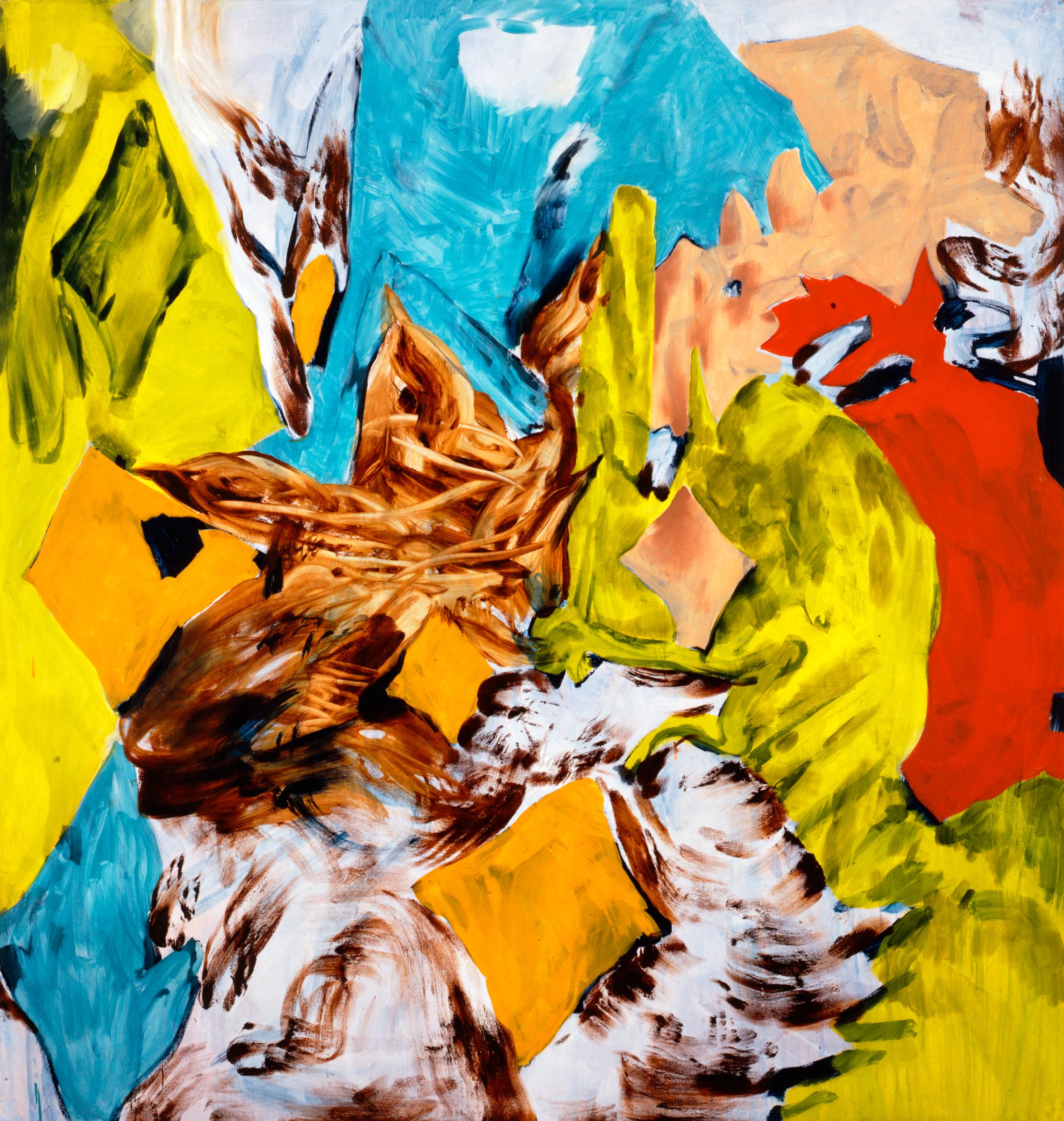 Charline von Heyl, Bluntschli, 2005. Acrylic and oil on canvas, 82 x 78 in. ©Charline von Heyl. Courtesy of the artist and Petzel, New York. Collection Ira G. Wool and Barbara Mirecki