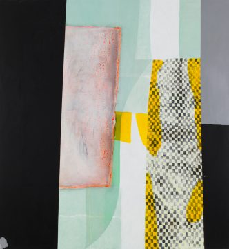 Charline von Heyl, Moky, 2013. Oil and acrylic on canvas, 82 x 76 in. ©Charline von Heyl. Courtesy of the artist and Petzel, New York. Collection of Marguerite Steed Hoffman