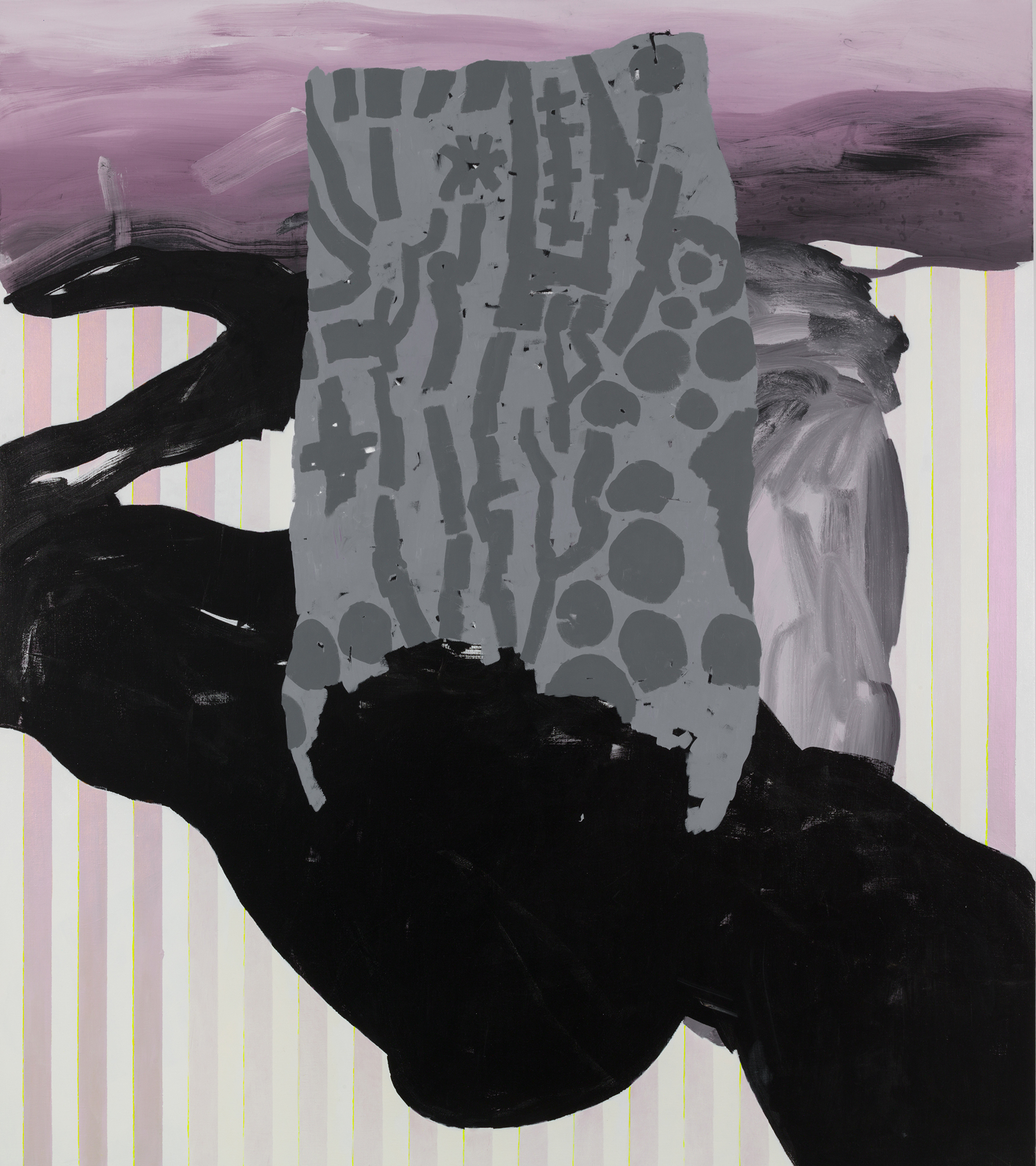 Charline von Heyl, Slow Tramp, 2012. Oil, acrylic and charcoal on canvas, 82 x 72 in. ©Charline von Heyl. Courtesy of the artist and Petzel, New York. Collection of Evan Snyderman & Zesty Meyers, R & Company New York