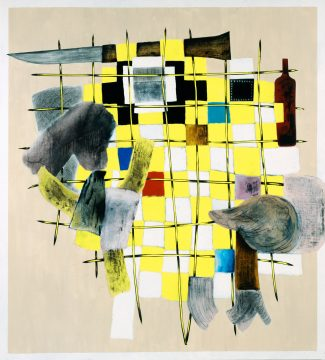 Charline von Heyl, Yellow Guitar, 2010. Acrylic, oil, and charcoal on linen, 82 x 78 in. Private Collection, New York. ©Charline von Heyl. Courtesy of the artist and Petzel, New York