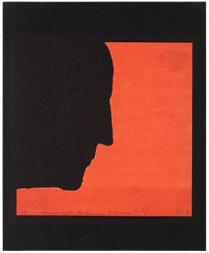 Marcel Duchamp Self-Portrait in Profile (Autoportrait de profil), 1958/1963 Torn origami paper on paper Edition: 1/25 Promised Gift of Barbara and Aaron Levine Hirshhorn Museum and Sculpture Garden, Washington, D.C.; photo: Cathy Carver © Association Marcel Duchamp / ADAGP, Paris / Artists Rights Society (ARS), New York 2019
