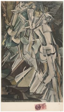 Marcel Duchamp Nude Descending a Staircase, No. 2 (Nu descendant un escalier n° 2), 1937 (after 1912 painting) Pochoir-colored collotype with pen and ink over French five-centime revenue stamp Promised Gift of Barbara and Aaron Levine Hirshhorn Museum and Sculpture Garden, Washington, D.C.; photo: Cathy Carver © Association Marcel Duchamp / ADAGP, Paris / Artists Rights Society (ARS), New York 2019
