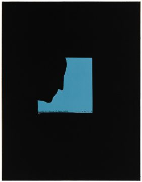 Marcel Duchamp Poster after Self-Portrait in Profile, 1959 Screenprint printed in blue ink on black paper mounted on cardboard Edition: 9/40 Promised Gift of Barbara and Aaron Levine Hirshhorn Museum and Sculpture Garden, Washington, D.C.; photo: Cathy Carver © Association Marcel Duchamp / ADAGP, Paris / Artists Rights Society (ARS), New York 2019