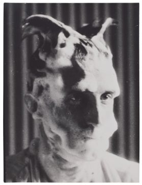 Man Ray Marcel Duchamp with Shaving Lather for Monte Carlo Bond, 1921/printed 1930s Gelatin silver photograph on trimmed postcard Promised Gift of Barbara and Aaron Levine Hirshhorn Museum and Sculpture Garden, Washington, D.C.; photo: Cathy Carver © Association Marcel Duchamp / ADAGP, Paris / Artists Rights Society (ARS), New York 2019; © Man Ray 2015 Trust / Artists Rights Society (ARS), NY / ADAGP, Paris