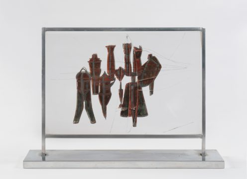 Marcel Duchamp Nine Malic Moulds (Neuf moules mâlic), 1914–1915/1938 Gouache collotype and cut paper on plastic in metal frame Edition: 5/9 Promised Gift of Barbara and Aaron Levine Hirshhorn Museum and Sculpture Garden, Washington, D.C.; photo: Cathy Carver © Association Marcel Duchamp / ADAGP, Paris / Artists Rights Society (ARS), New York 2019