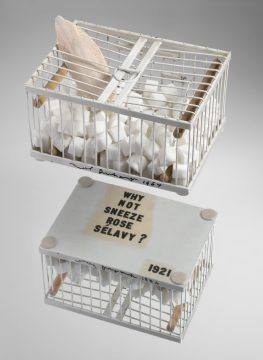 Marcel Duchamp Why Not Sneeze?, 1921/1964 Painted metal cage, wood, marble, cuttlefish bone, thermometer Edition: Publisher AP Promised Gift of Barbara and Aaron Levine Hirshhorn Museum and Sculpture Garden, Washington, D.C.; photo: Cathy Carver © Association Marcel Duchamp / ADAGP, Paris / Artists Rights Society (ARS), New York 2019