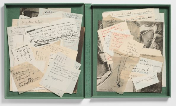 Marcel Duchamp The Bride Stripped Bare by Her Bachelors, Even (The Green Box) (La mariée mise à nu par ses célibataires même [La boîte verte]), 1934 94 facsimiles of notes, drawings, and photographs in green-flocked cardboard box Regular edition: 265/300 Promised Gift of Barbara and Aaron Levine Hirshhorn Museum and Sculpture Garden, Washington, D.C.; photo: Cathy Carver © Association Marcel Duchamp / ADAGP, Paris / Artists Rights Society (ARS), New York 2019