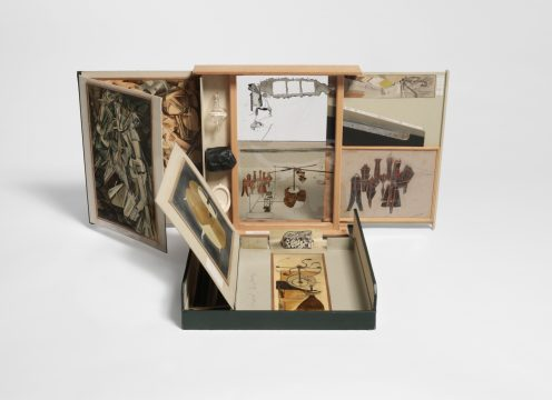 Marcel Duchamp From or by Marcel Duchamp or Rrose Sélavy (The Box in a Valise) (De ou par Marcel Duchamp ou Rrose Sélavy [La boîte-en-valise]), 1935–1941/1963 Reproductions of 68 works by Marcel Duchamp in dark green imitation leather box Series E Promised Gift of Barbara and Aaron Levine Hirshhorn Museum and Sculpture Garden, Washington, D.C.; photo: Cathy Carver © Association Marcel Duchamp / ADAGP, Paris / Artists Rights Society (ARS), New York 2019