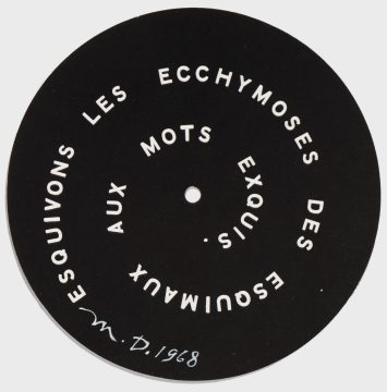 Marcel Duchamp Esquivons les ecchymoses des esquimaux aux mots exquis, cover of S.M.S., 1968 Screenprint on die-cut paper Edition: Unique (trial proof for edition of 2,500) Promised Gift of Barbara and Aaron Levine Hirshhorn Museum and Sculpture Garden, Washington, D.C.; photo: Cathy Carver © Association Marcel Duchamp / ADAGP, Paris / Artists Rights Society (ARS), New York 2019