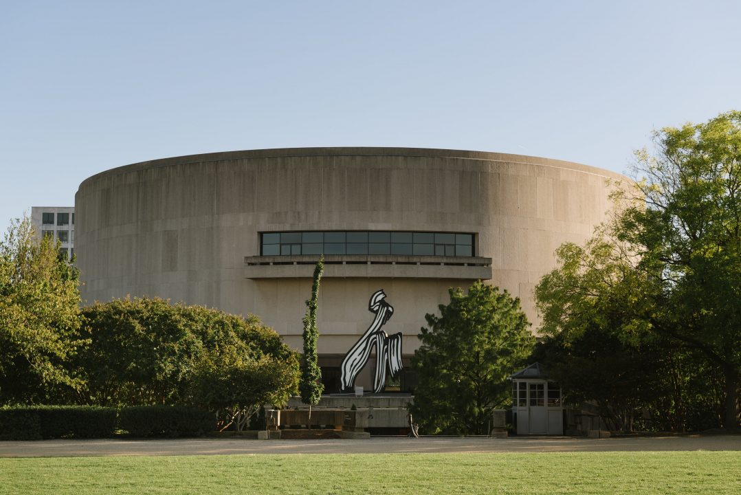 View of Hirshhorn Museum and Sculpture Garden from the national mall