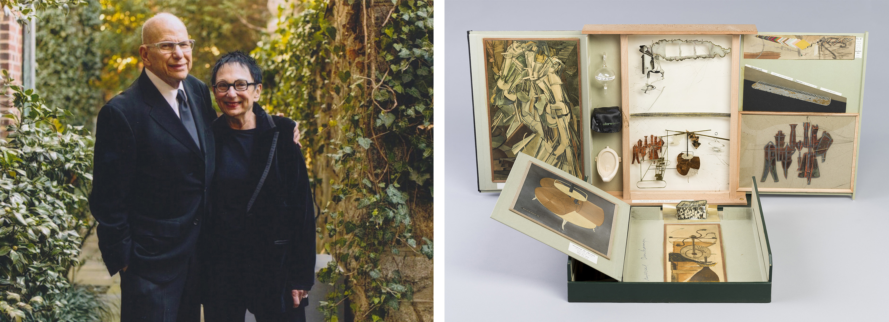 Left: Aaron and Barbara Levine. Photo by Eli Meir Kaplan. Right: Marcel Duchamp, The Box in a Valise/Boite en Valise (Series E) From or by Marcel Duchamp or Rrose Selavy, 1963. Cincinnati Art Museum, Ohio, USA. Duchamp / Bridgeman Images. Association Marcel Duchamp / ADAGP, Paris / Artists Rights Society (ARS), New York 2018